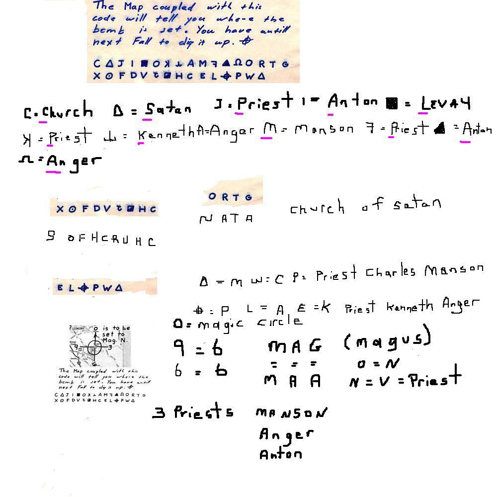Zodiac killer bus bomb code spells church of satan the many cc church triangle s symbol cipher code alphabet s satan biocorpaavc